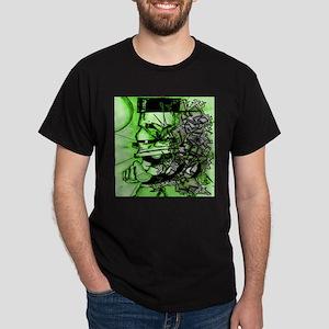 KONVIKT (GREEN) Graffiti Art Black T-Shirt