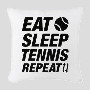 Eat Sleep Tennis Repeat Woven Throw Pillow