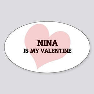 Nina Is My Valentine Oval Sticker