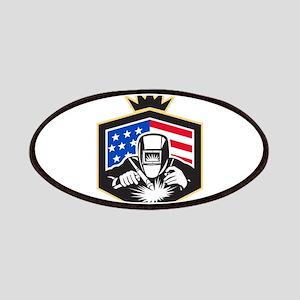 Welder Arc Welding USA Flag Crest Retro Patch