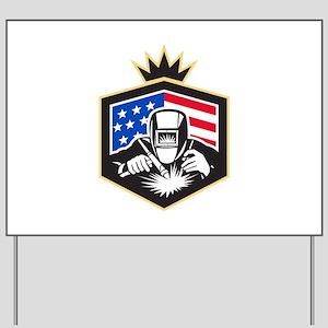 Welder Arc Welding USA Flag Crest Retro Yard Sign