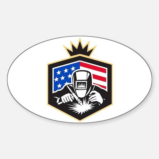 Welder Arc Welding USA Flag Crest Retro Decal
