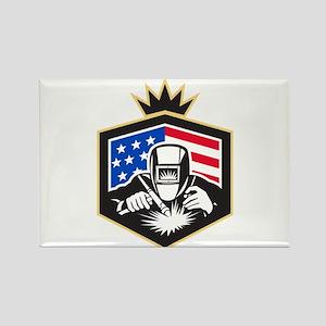 Welder Arc Welding USA Flag Crest Retro Magnets