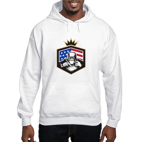 Welder Arc Welding USA Flag Crest Retro Sweatshirt
