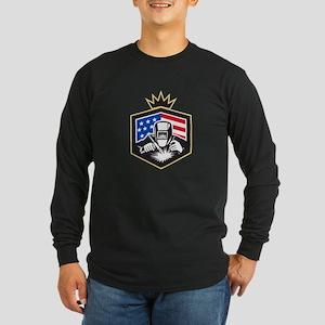 Welder Arc Welding USA Flag Crest Retro Long Sleev