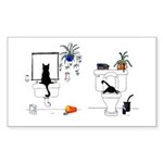 Two Cats In The Bath Sticker (Rectangle 50 pk)