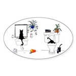 Two Cats In The Bath Sticker (Oval 10 pk)