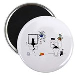 """Two Cats In The Bath 2.25"""" Magnet (100 pack)"""