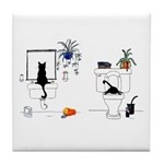 Two Cats In The Bath Tile Coaster