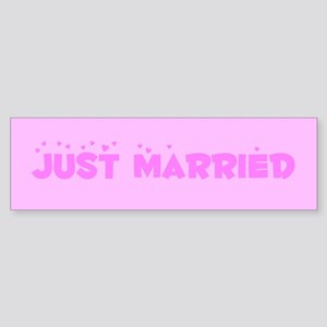Pink Blush Just Married Bumper Sticker