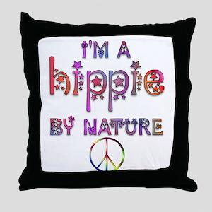 Hippie By Nature Retro Throw Pillow