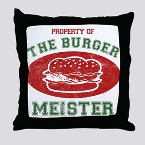 Property of Burger Meister Throw Pillow