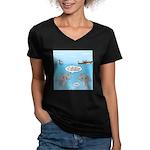 Shark Fast-Food Delive Women's V-Neck Dark T-Shirt