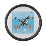 Shark Fast-Food Delivery Service Large Wall Clock