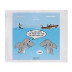 Shark Fast-Food Delivery Service Throw Blanket