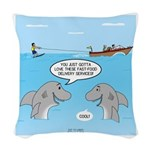 Shark Fast-Food Delivery Servi Woven Throw Pillow