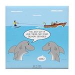 Shark Fast-Food Delivery Service Tile Coaster