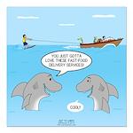 Shark Fast-Food Delivery Square Car Magnet 3