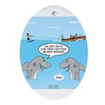 Shark Fast-Food Delivery Service Oval Ornament