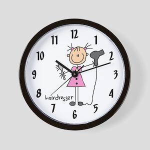 Pink Dress Hairdresser Wall Clock