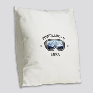 Powderhorn Resort - Mesa - C Burlap Throw Pillow