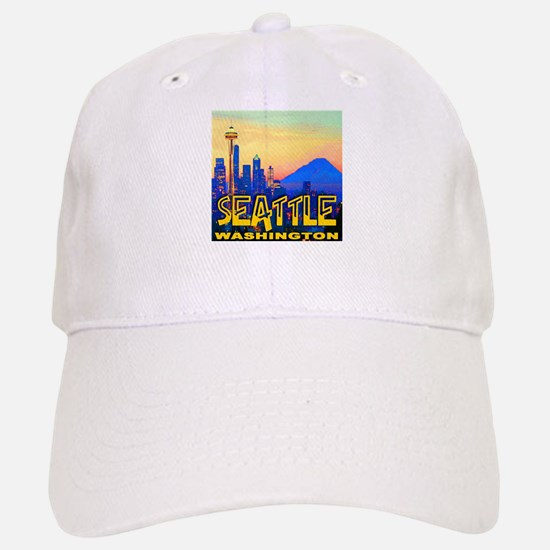 Seattle WA Mt. Rainier Golden Skyline Baseball Baseball Cap