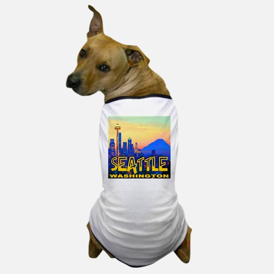 Seattle WA Mt. Rainier Golden Skyline Dog T-Shirt