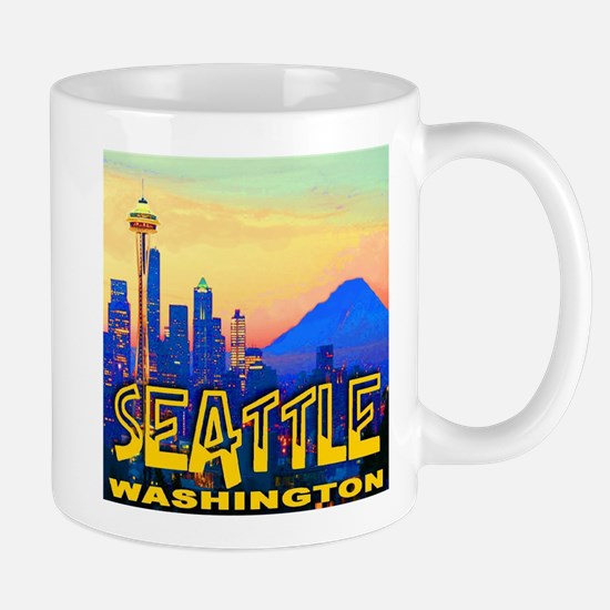 Seattle WA Mt. Rainier Golden Skyline Mug