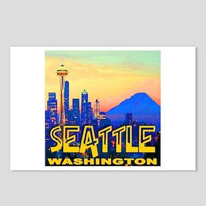 Seattle WA Mt. Rainier Golden Skyline Postcards (P