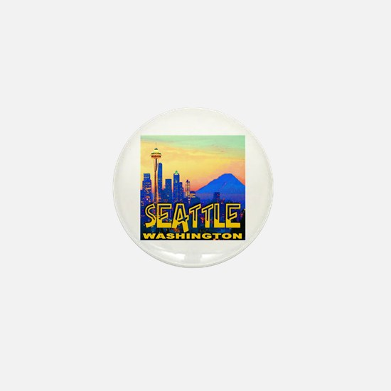 Seattle WA Mt. Rainier Golden Skyline Mini Button