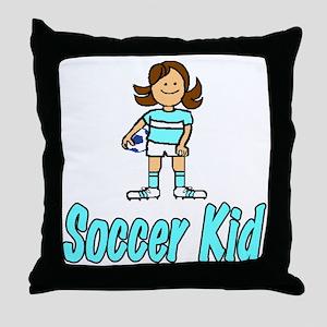 Soccer Kid Abigail Throw Pillow