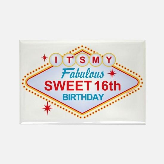 Las Vegas Birthday 16 Rectangle Magnet