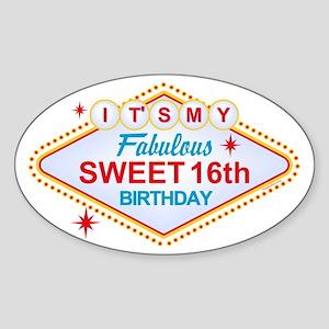 Las Vegas Birthday 16 Sticker Oval