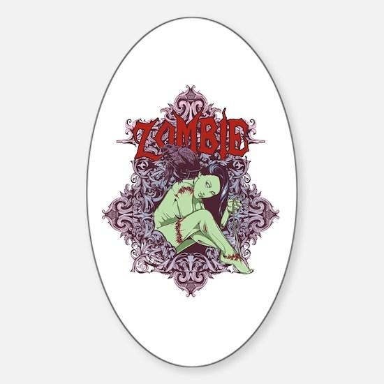 Zombie Girl Sticker (Oval)