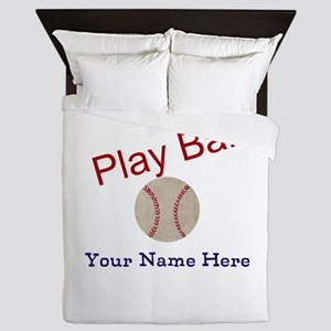 Personalize it! Play Ball Baseball Queen Duvet