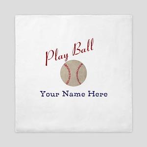 Personalize it! Play Ball Baseball Queen Duvet