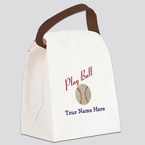 Personalize it! Play Ball Basebal Canvas Lunch Bag