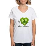 My Heart Belongs to a Logger Women's V-Neck T-Shir
