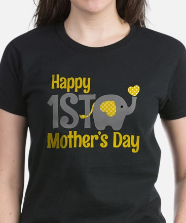 1st Mother's Day Elephant Yellow T-Shirt