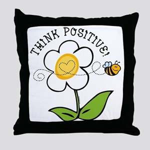 Think Positive Bee Throw Pillow
