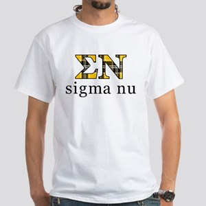 Sigma Nu Letters Plaid White T-Shirt