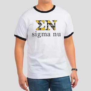 Sigma Nu Letters Plaid Ringer T