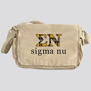 Sigma Nu Letters Plaid Messenger Bag