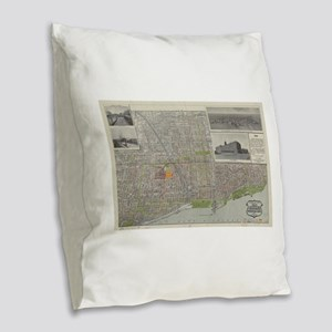 Vintage Map of Chicago (1912) Burlap Throw Pillow