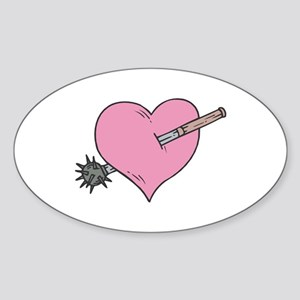 Heart With Mace Oval Sticker