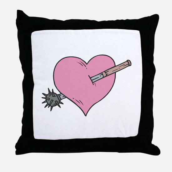 Heart With Mace Throw Pillow