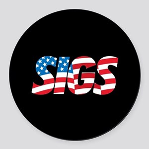 Sigma Nu Sigs Round Car Magnet