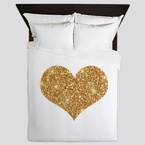 glitter-heart_0006_gold Queen Duvet