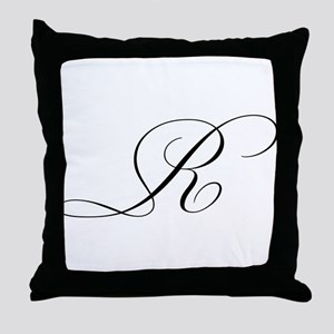 "Letter ""R"" (Cursive Initial) Throw Pillow"