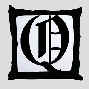 """Letter """"Q"""" (Gothic Initial) Throw Pillow"""